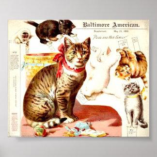 Familia de gato del vintage póster