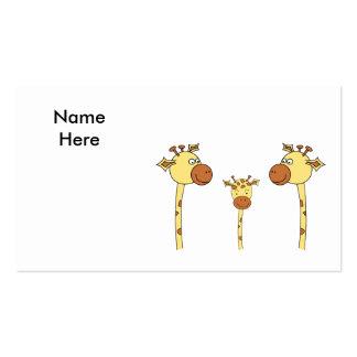 Familia de jirafas. Historieta Plantilla De Tarjeta Personal