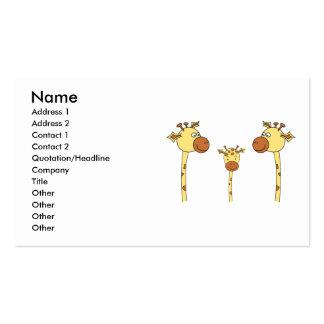 Familia de jirafas. Historieta Tarjetas De Visita