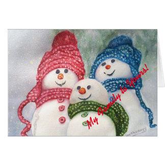 Familia de los muñecos de nieve del navidad tarjeta de felicitación