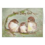 Familia de pájaro linda de la nueva niña de la enh felicitación