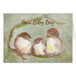 Familia de pájaro linda del nuevo bebé de la tarjeta pequeña