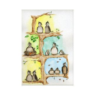 Familia de pájaro/primavera, verano, otoño y impresión en lienzo