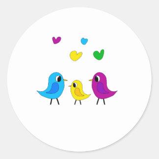 Familia de pájaros pegatina redonda