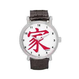 Familia del chino del rojo carmesí relojes de mano