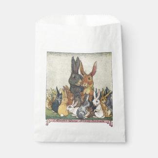 Familia del conejito de pascua del vintage bolsa de papel