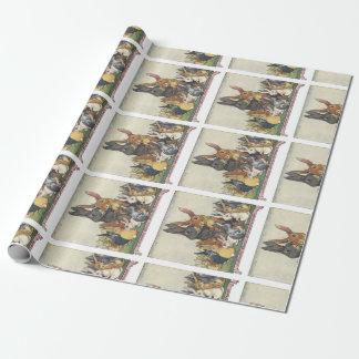 Familia del conejito de pascua del vintage papel de regalo