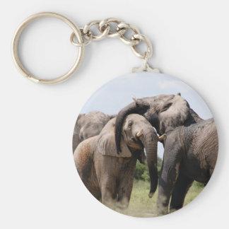 Familia del elefante de África Llavero Redondo Tipo Chapa