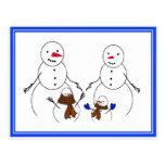 Familia del muñeco de nieve postal