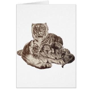 Familia del tigre tarjeta de felicitación