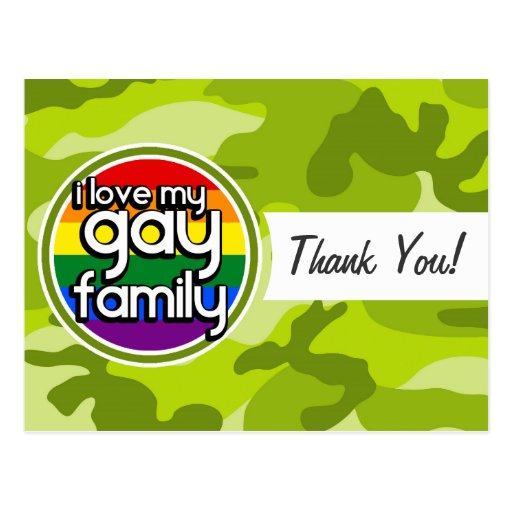 Familia gay; camo verde claro, camuflaje tarjeta postal