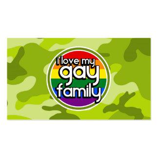 Familia gay; camo verde claro, camuflaje plantilla de tarjeta de visita