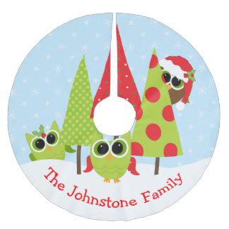 Familia linda del búho en la falda del árbol de falda para el árbol de navidad de poliéster
