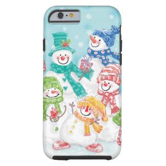 Familia linda del muñeco de nieve del navidad en funda de iPhone 6 tough