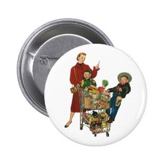 Familia, mamá y niños retros, compras del carro chapa redonda 5 cm