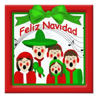 Familia mexicana cinco de los Carolers del navidad Invitación 13,3 Cm X 13,3cm