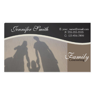Familia que aconseja a consejeros del profesional tarjetas de visita