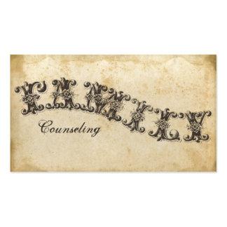 Familia que aconseja la tarjeta de visita de papel