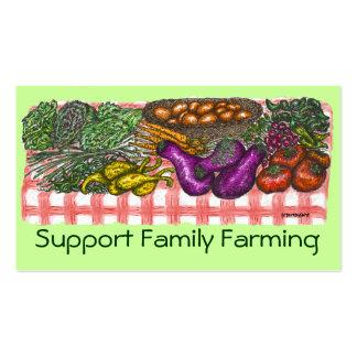 Familia que cultiva la tarjeta del perfil tarjetas de visita
