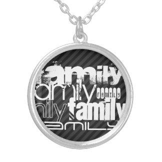 Familia; Rayas negras y gris oscuro Colgante Redondo