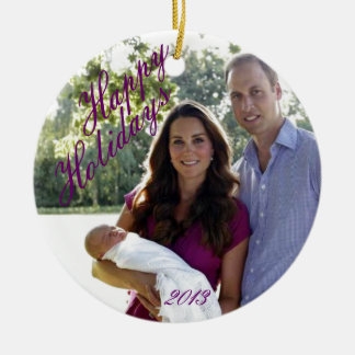 Familia real 2013 adorno navideño redondo de cerámica