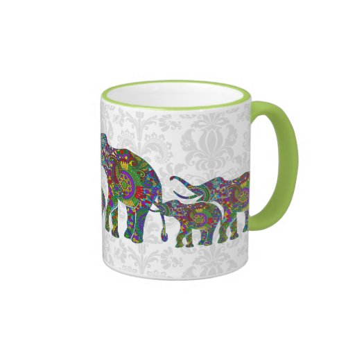 Familia retra colorida 2 del elefante de la flor taza