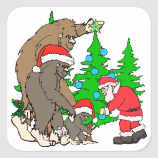 Familia y Santa de Bigfoot Pegatina Cuadrada