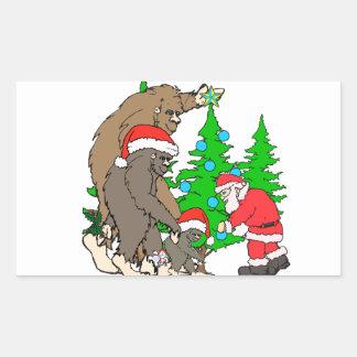 Familia y Santa de Bigfoot Pegatina Rectangular