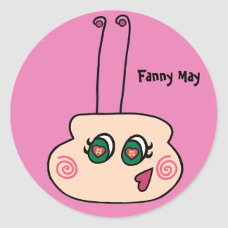 Fanny puede la luciérnaga pegatina redonda