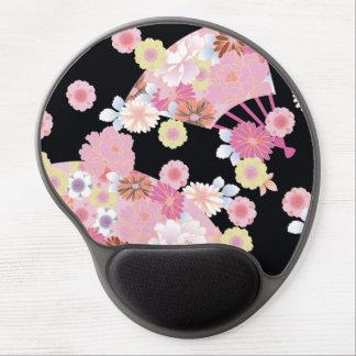 Fans lindas y bella arte floral japonesa de las alfombrilla gel