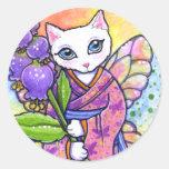 Fantasía asiática del gato del geisha de los pegat etiquetas redondas