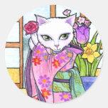 Fantasía asiática del gato del geisha de los pegat etiqueta redonda