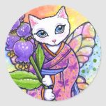 Fantasía asiática del gato del geisha de los etiquetas redondas