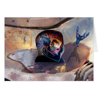 Fantasía de la chatarra con la cabeza y la piscina tarjeta de felicitación
