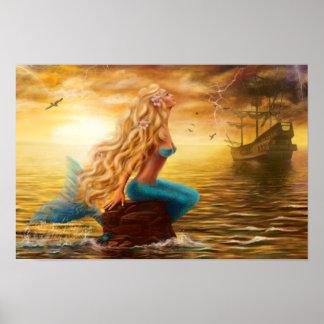 Fantasía de la sirena del poster póster