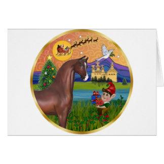 Fantasía de Navidad - caballo del árabe de Brown Tarjeta