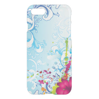 Fantasía floral azul abstracta funda para iPhone 7