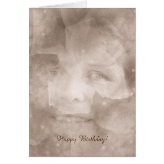 Fantasía sonriente de los rosas de la sepia floral tarjeta de felicitación