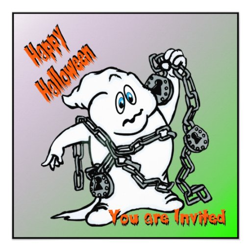 Fantasma con la invitación de Halloween de las cad