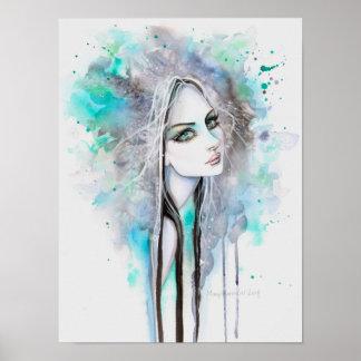 Fantasma de ojos verdes 12 x retrato abstracto de póster