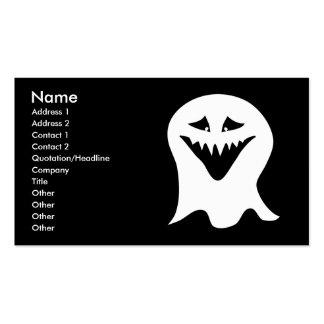 Fantasma del espíritu necrófago. Blanco y negro. Plantillas De Tarjeta De Negocio