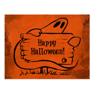 Fantasma del feliz Halloween con la muestra Postal