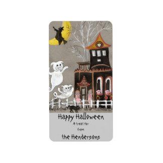 Fantasma guarro del feliz Halloween - etiquetas Etiquetas De Dirección