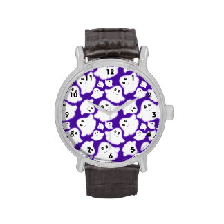 Fantasma púrpura y blanco violeta de Halloween; Relojes