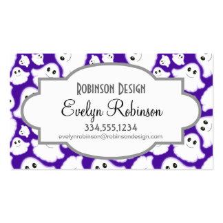 Fantasma púrpura y blanco violeta de Halloween; Tarjetas De Visita