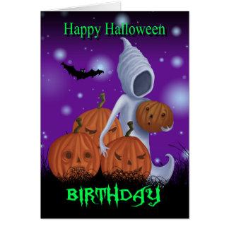 Fantasma y calabazas del cumpleaños de Halloween Tarjeta De Felicitación