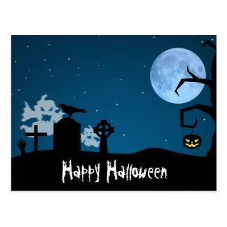 Fantasmas de Halloween en el cementerio - postal