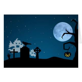 Fantasmas de Halloween en el cementerio - tarjeta