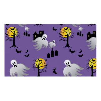 Fantasmas de la Luna Llena de Halloween en púrpura Tarjetas De Visita