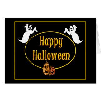 Fantasmas del feliz Halloween y tarjeta de